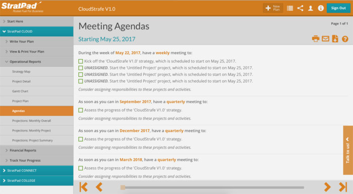 StratPad business planning software - Meeting Agendas