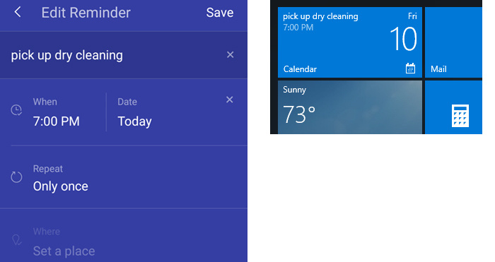 Reminders set in the Cortana Android app appear in Windows 10