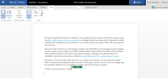 office 2016 review office online commenting