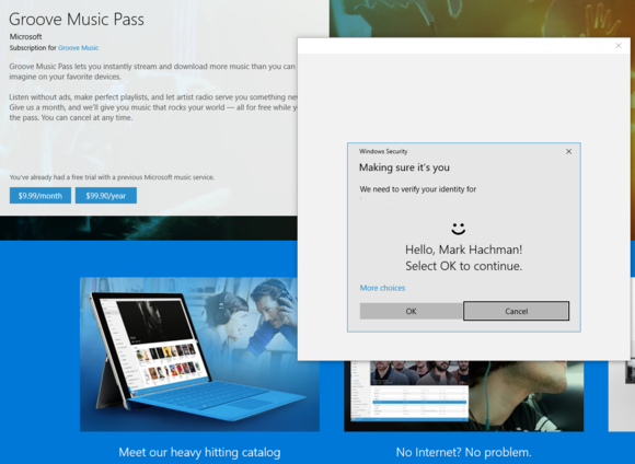 windows 10 Windows hello groove music