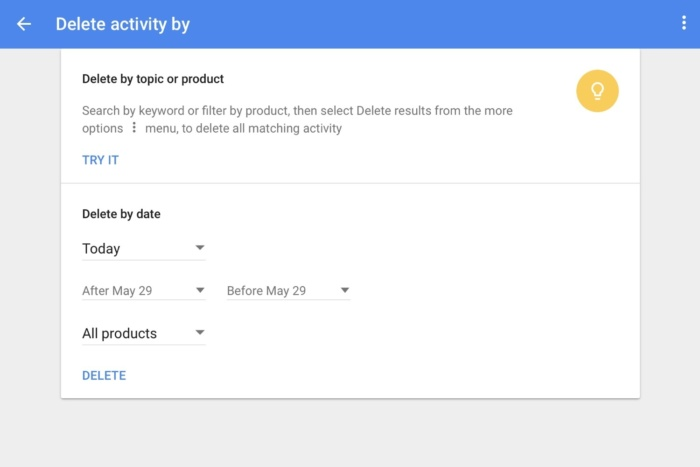 delete google data delete activity by