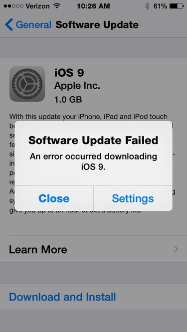 iOS 9 download problem