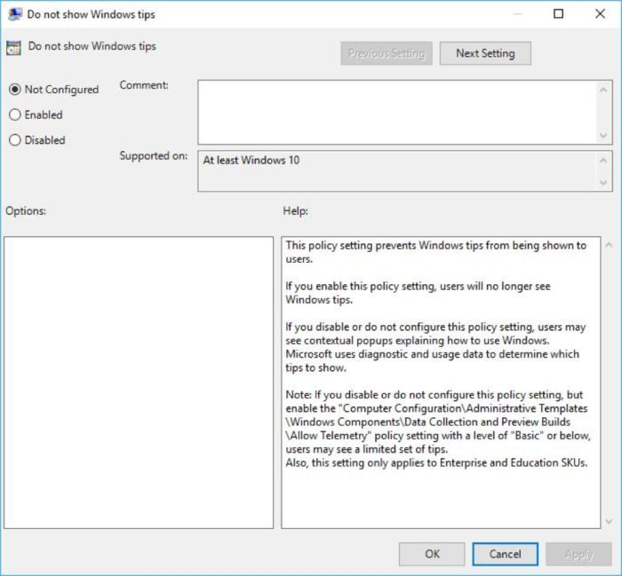 Win10 Version 1703 continues to block the Group Policy settings