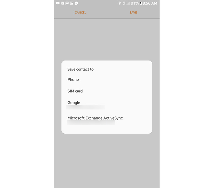 Android backup Contacts app Samsung phones