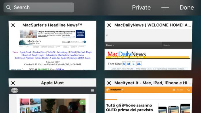 safari tabs horizontal