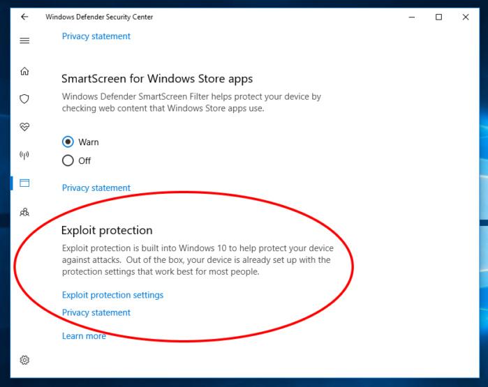 Exploit Guard Windows 10 fall creator 2