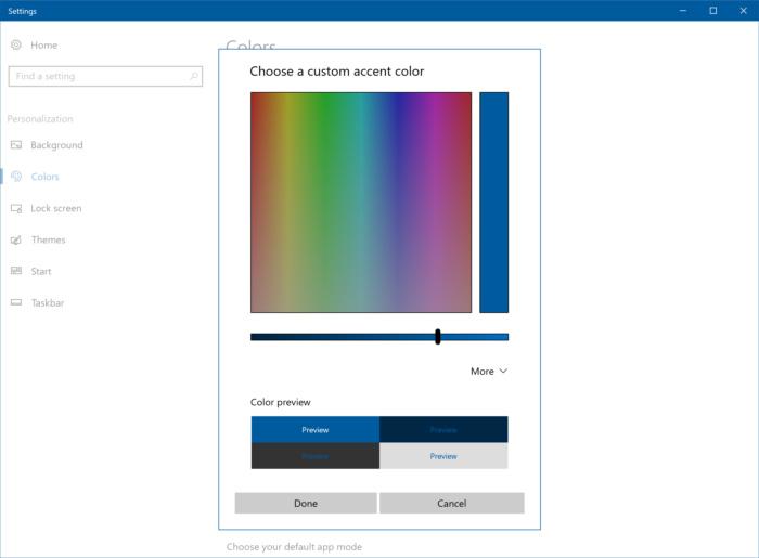 Windows 10 Build 15014 accent color