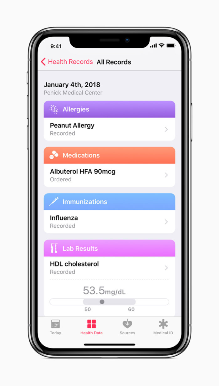 iphone x apple all health records screen
