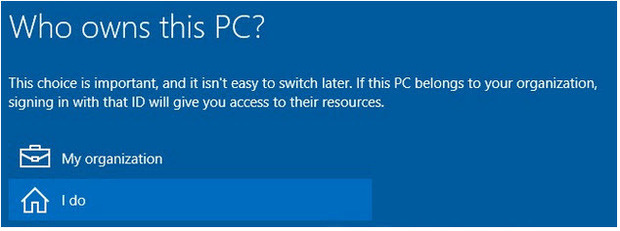 Windows 10: Who owns this PC?