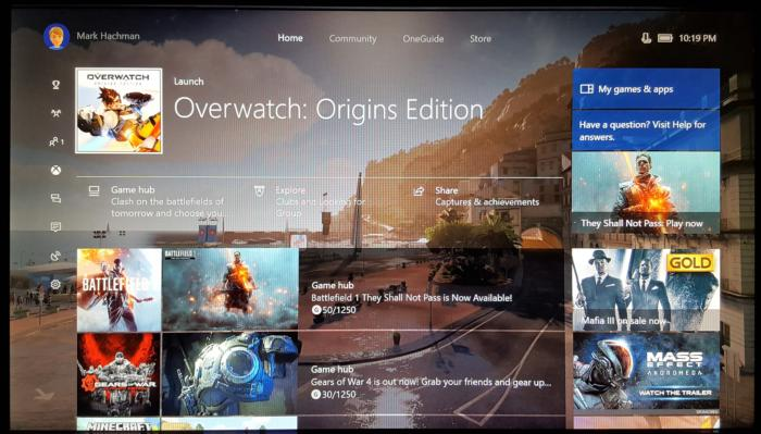 Windows 10 Creators Update Xbox One Guide Home