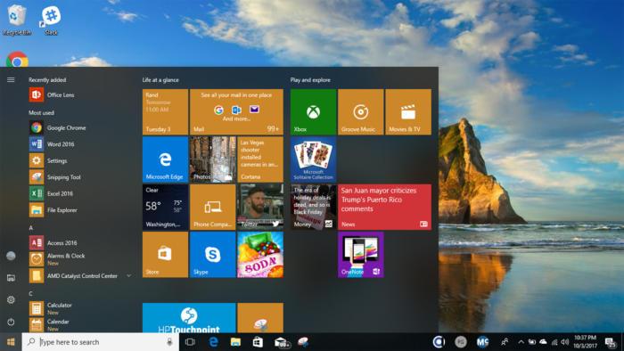 Windows 10 Fall Creators Update Start Menu