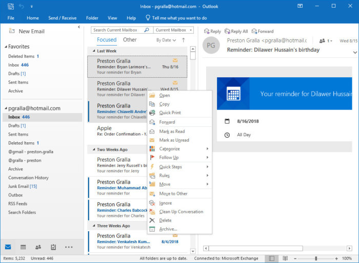 outlook2016 move to archive folder