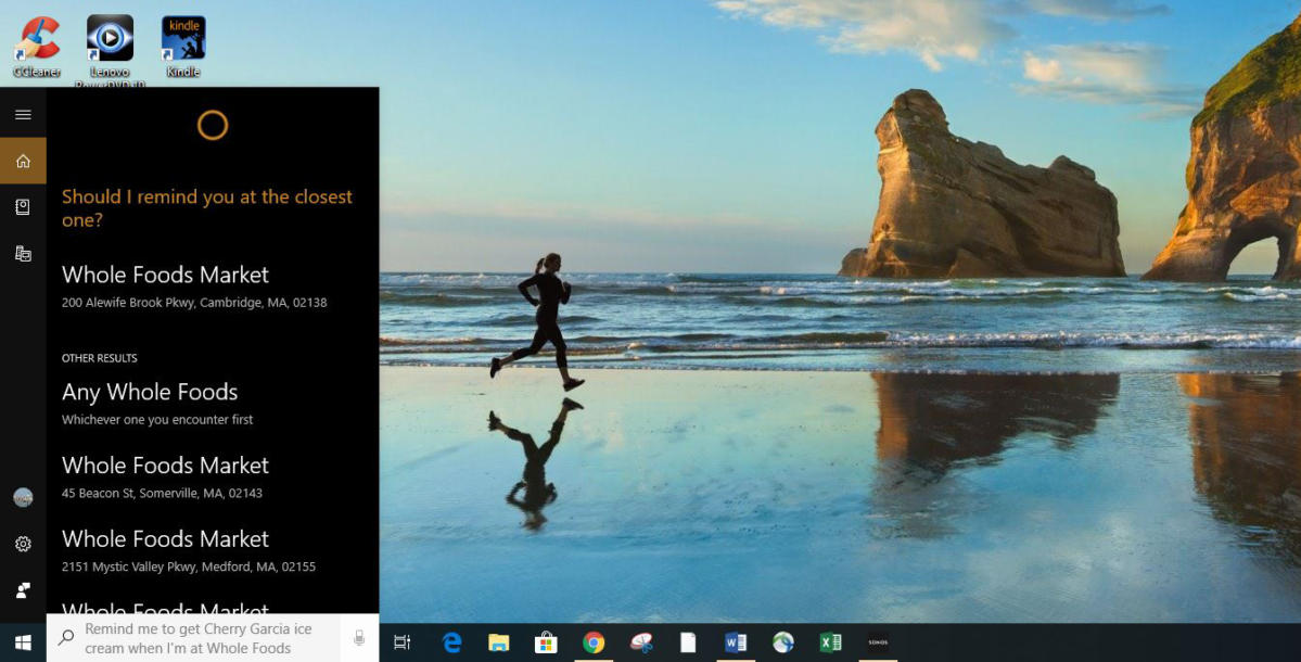 win10 cortana location reminder