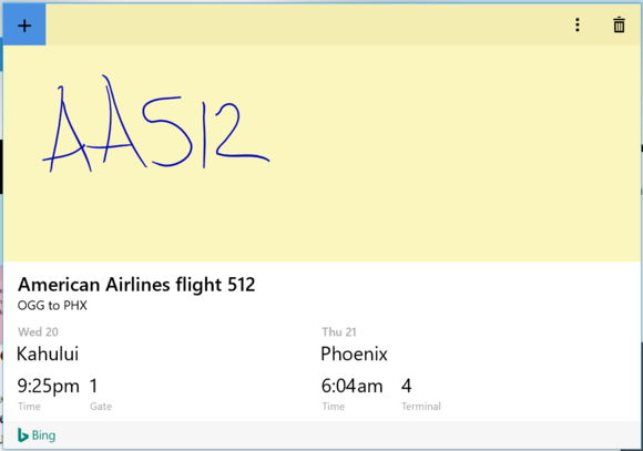 Windows 10 Anniversary Update sticky notes cortana airline flight