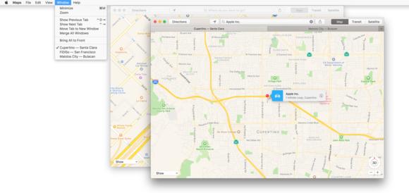 macos sierra tabs navigation maps