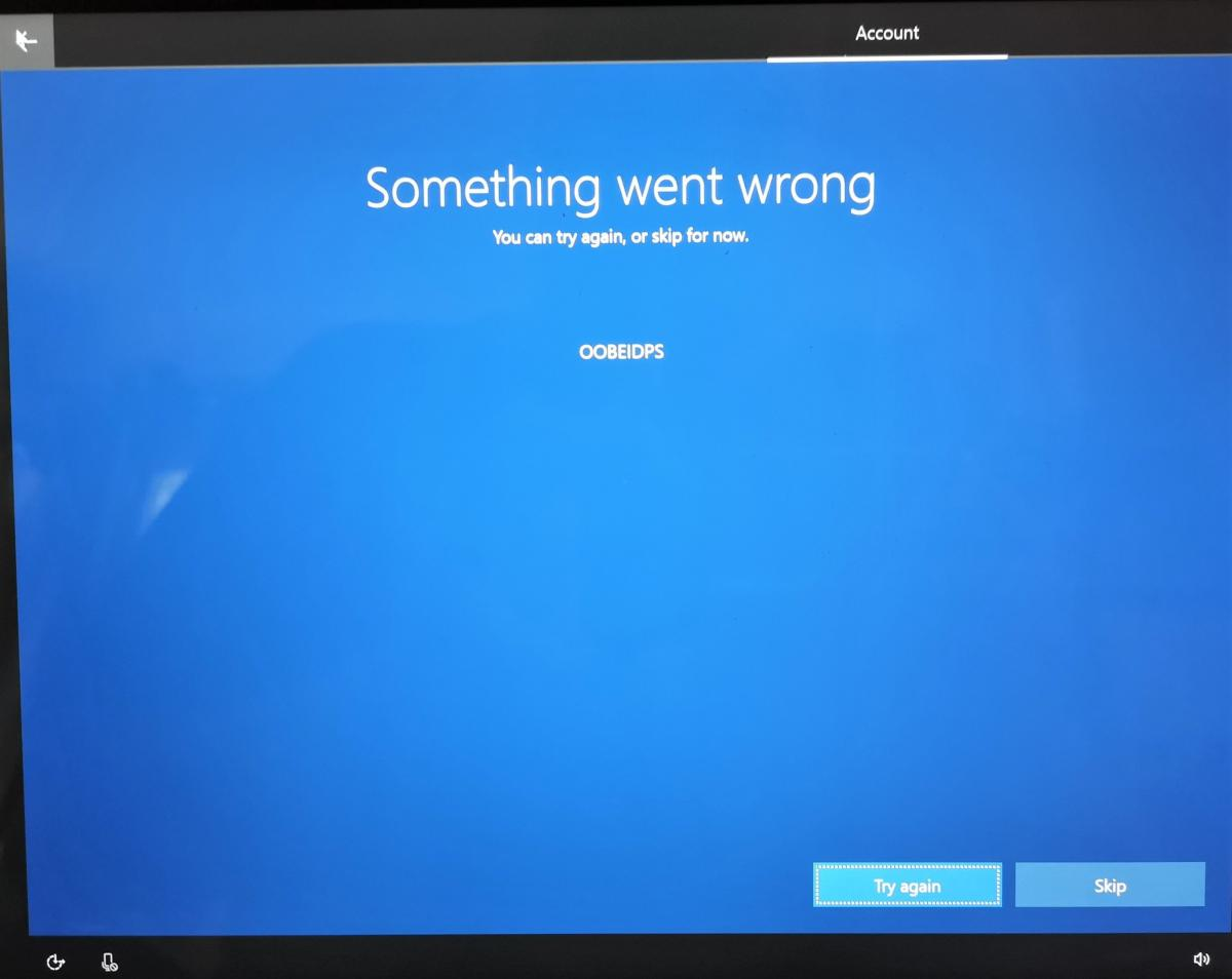 Windows 10 OOBE something went wrong