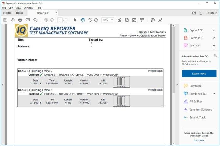 flukenetworks pdf report