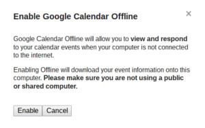 enable google calendar offline