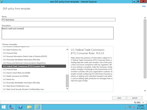 Exchange Settings: Data loss prevention policy template