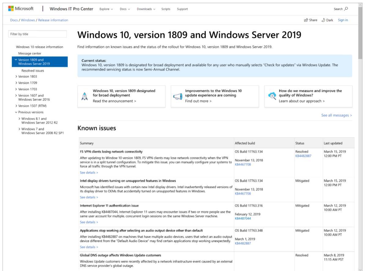 windows release health dashboard