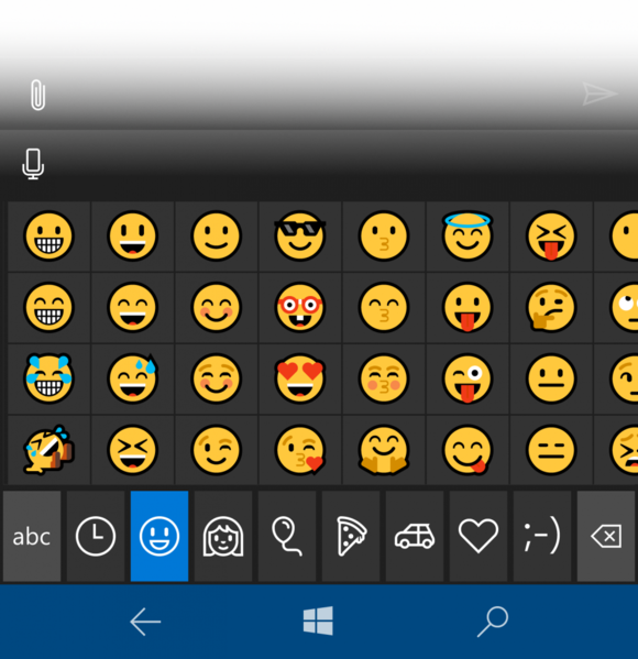 windows 10 mobile 14322 emoji