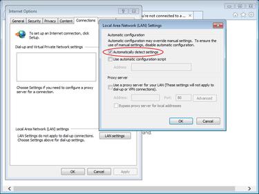 wpad configuration Windows detect settings proxy