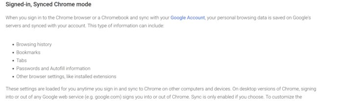 google sync privacy policy