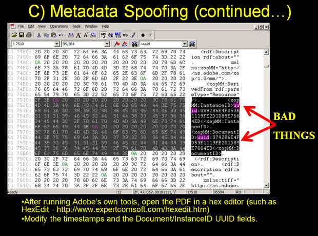Metadata spoofing