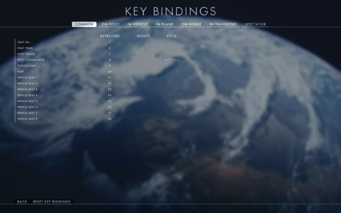 key bindings