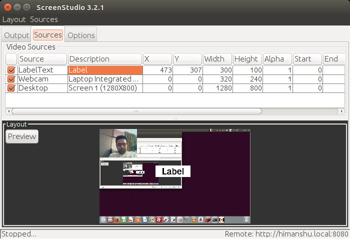 Linux screencasting apps - ScreenStudio adding label