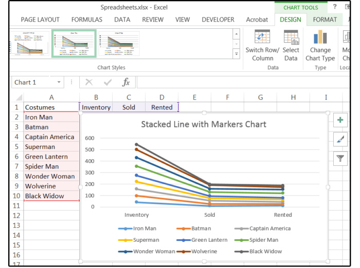 10 stacked line chart with markers