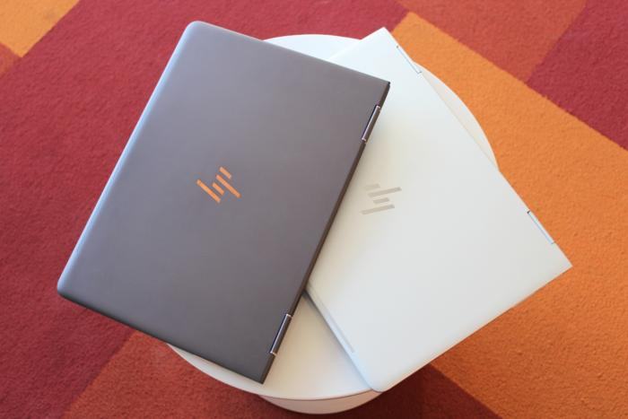 HP Spectre x360 2017 top view comparison shot between 4K model and FHD model