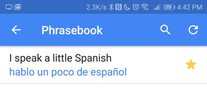 Google Translate phrasebook