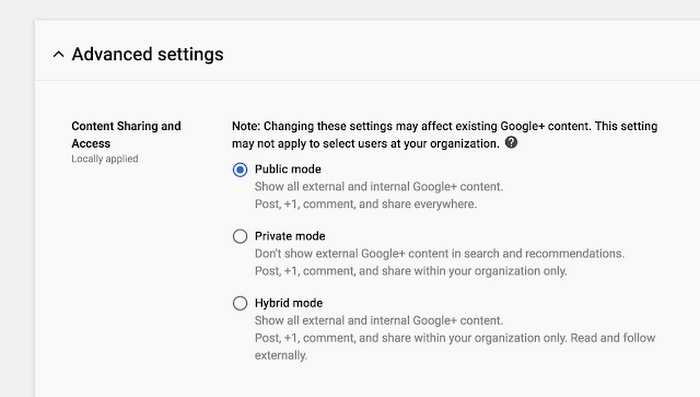 Google + advance settings