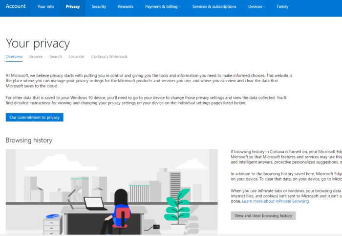 windows 10 privacy dashboard page