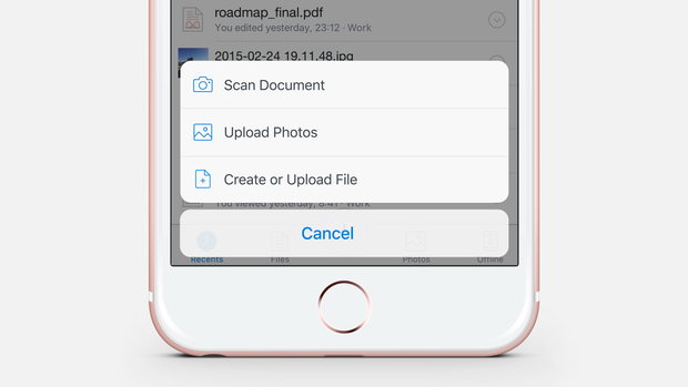 Dropbox iOS app add content menu