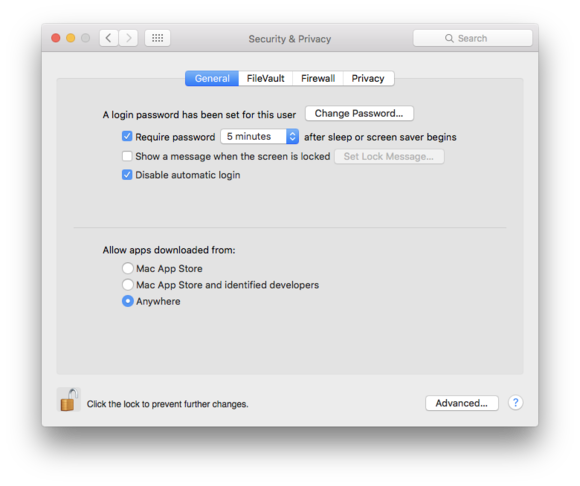 el capitan security privacy system pref general