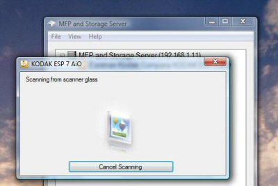 Scanning through the MFP and Storage Server utility