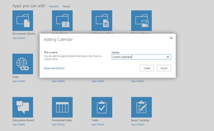 SharePoint Online - add calendar