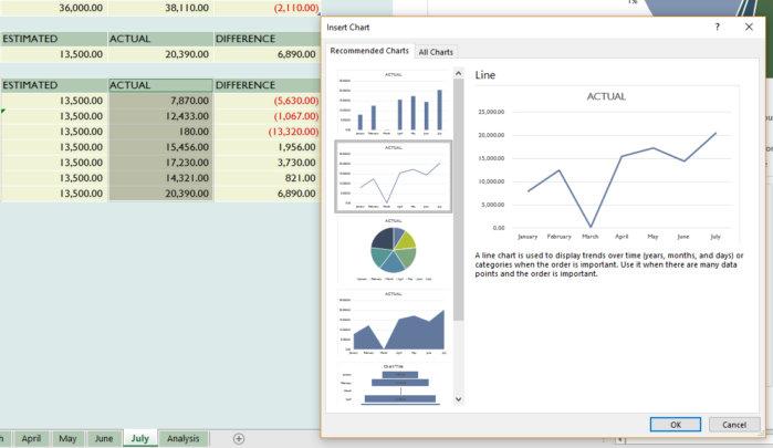 Microsoft Excel - insert chart screen