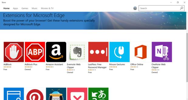 Windows 10 edge extensions