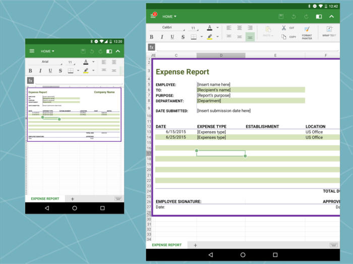 Android Office: OfficeSuite spreadsheet