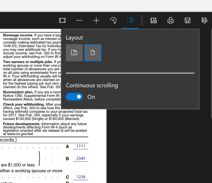 Microsoft edge PDF layout tools