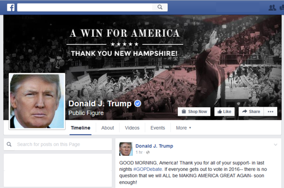 2016 presidential election sites facebook