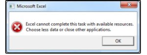 01 excel memory error message