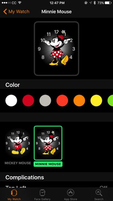 watchos 3 minnie mouse colors