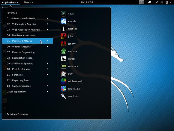 kali linux 2 menu