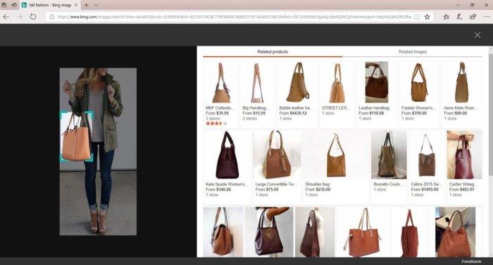 Microsoft Bing fashion image search