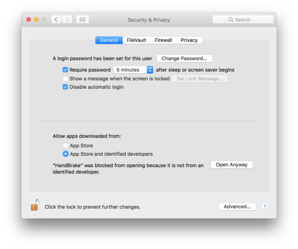 sierra security privacy open anyway