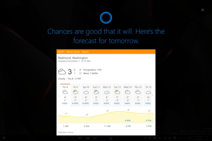 cortana lock screen weather